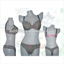 Lady's Printed Microfiber Underwear Set Plus Size Crossed Back-band Strap Checker