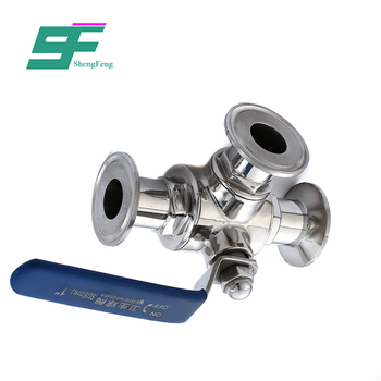 ShengFeng Hygienic Stainless Steel three way Clamp ball valve ss304