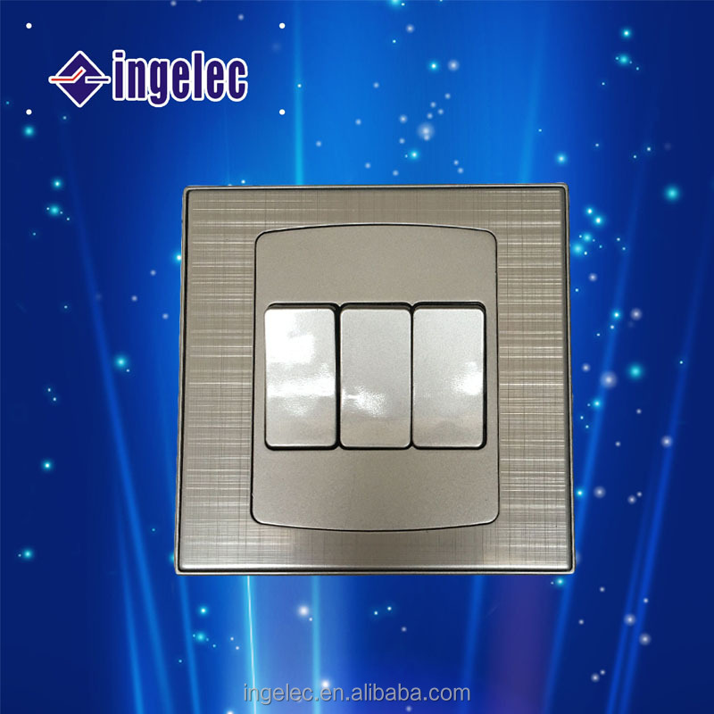 Luxury Metal Model Three Gang Wall Switch.Golden Electrical Wall Switch for Home