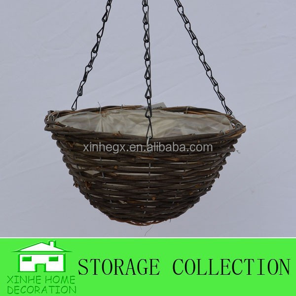 handwoven natural rattan hanging basket for flower planting