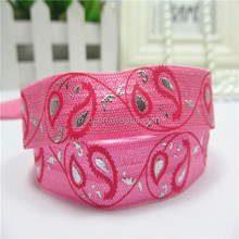 "New design 5/8"" sliver foil and ink screen printing elastic ribbon"