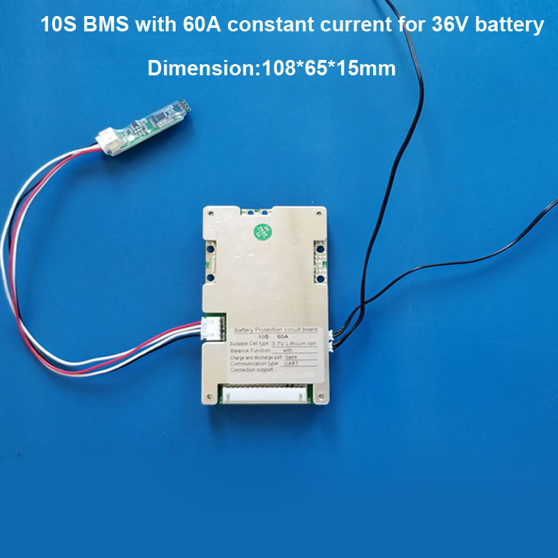 10S 36V Lithium Ion Battery Smart Bluetooth BMS with 60A constant current with APP and PC software <strong>PCB</strong>