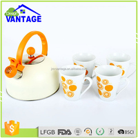 2016 new design 2.5L stainless steel whistling water kettle with 4pcs ceramic cups