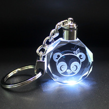 Nice 3d laser crystal key ring keychain with LED light promotional gifts