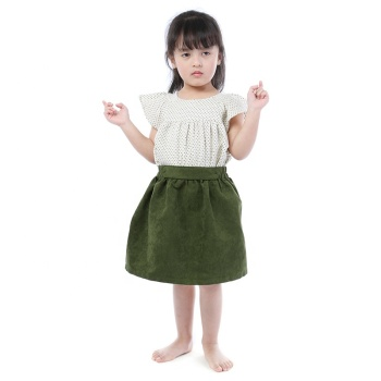 wholesales kids girls baby clothing dot top cotton skirt 2pc set girls designer clothes