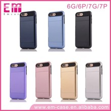 For iphone 7 Aluminum case wholesale hard pc back cover case with card insert