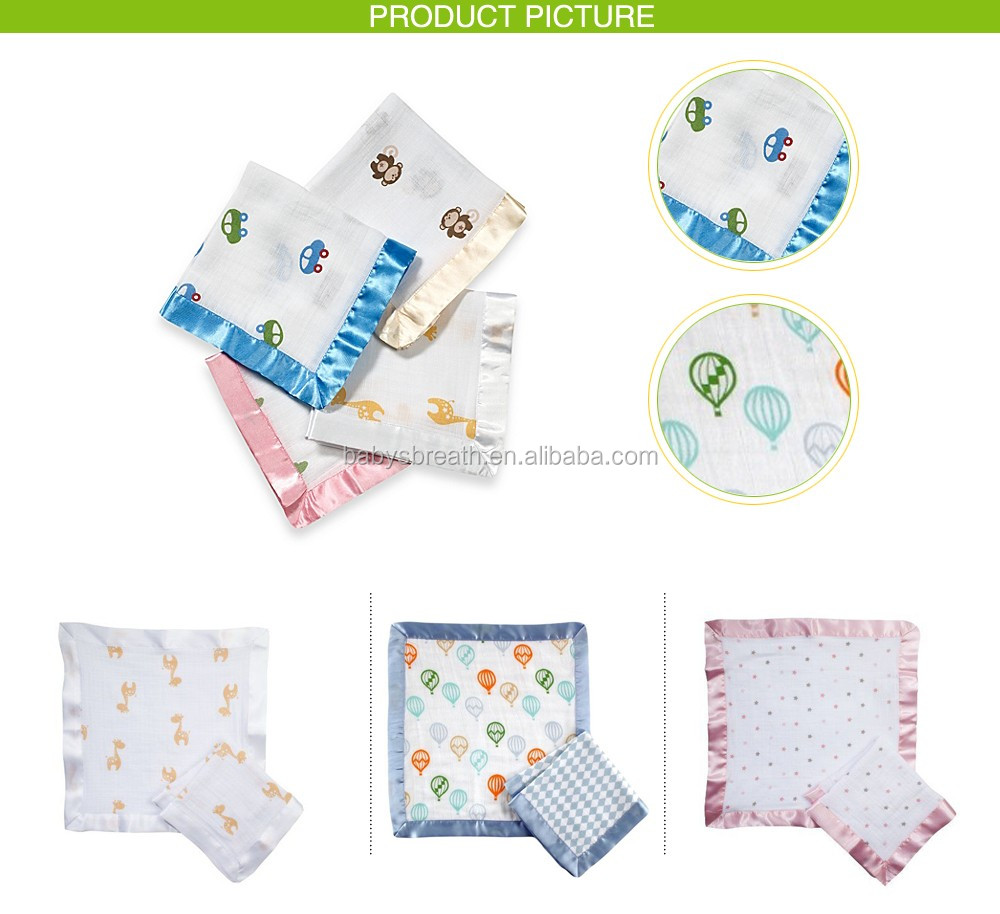 MS100 Fashion Print Muslin Receiving Security Blanket Baby