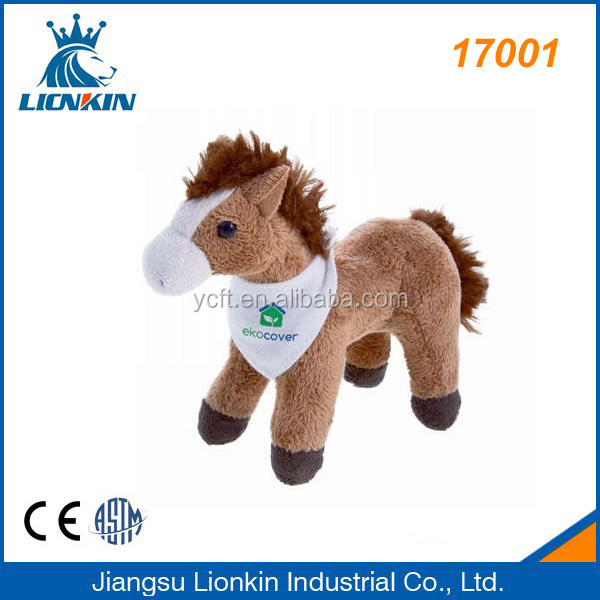 17001 brown standing stuffed plush toy horse with bib