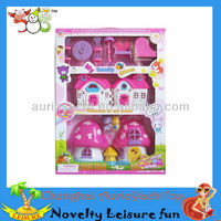 happy family doll house,children play house,mini mushroom shape houses with doll ZH0906562