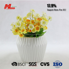 custom color glazed stripe ceramic lime green small flower vase pot in bulk