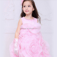 2015 teenage party dress for baby girls Top sale pink girls flower wedding dress fat kids ball gowns