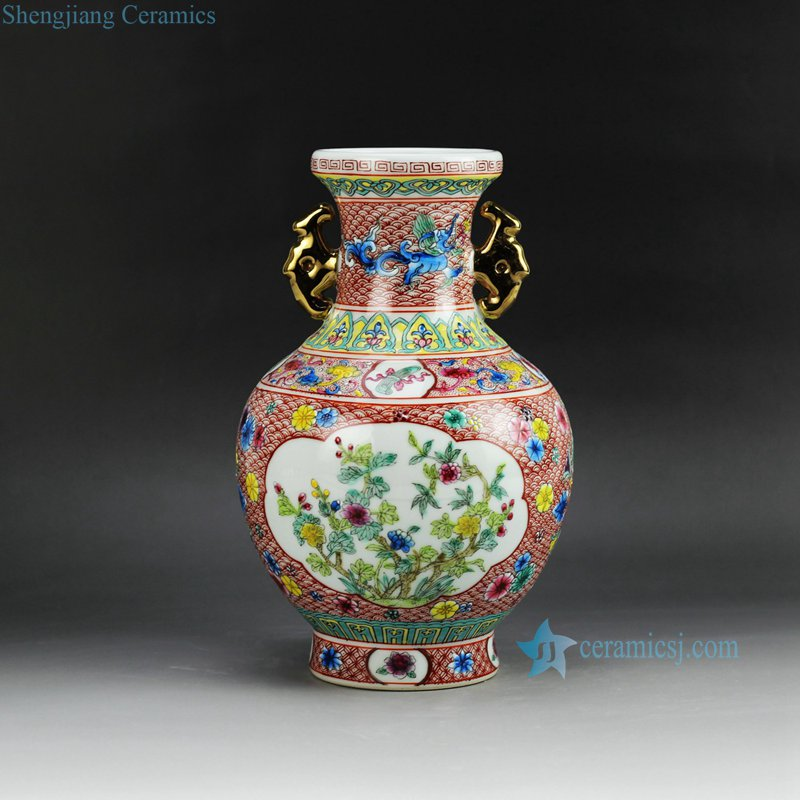 RZGQ01 Hand paint Qing Dynasty reproduction enamel ceramic centerpiece vase with two gold plated handle