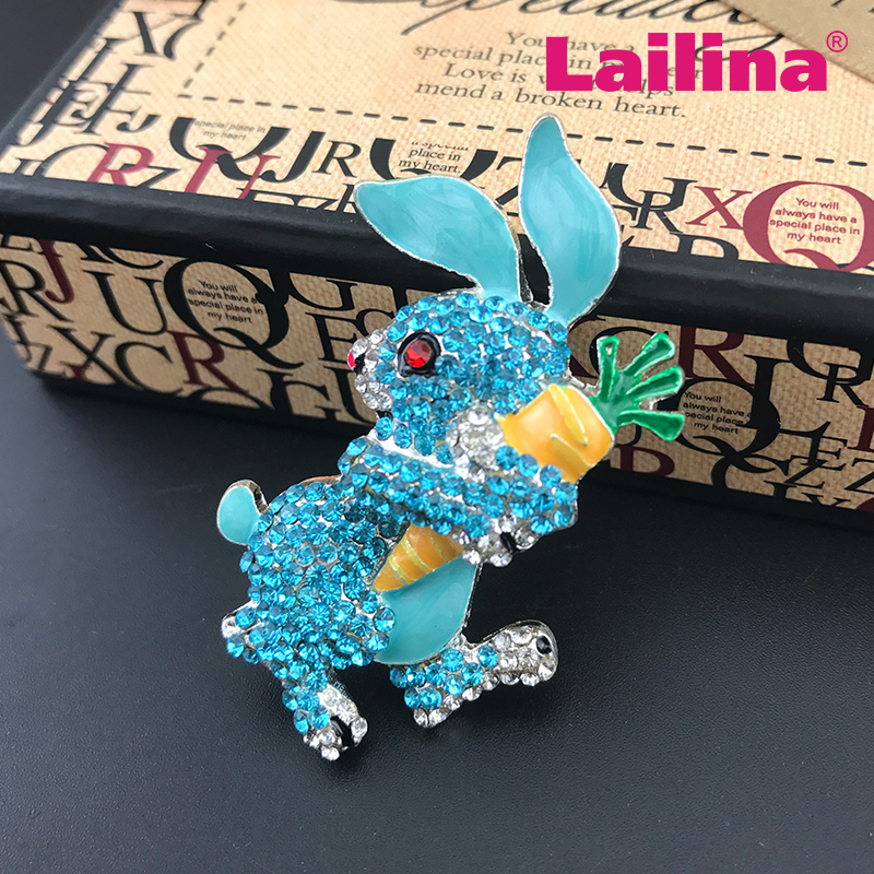 Rabbit broach blue Rhinestone bunny china wholesale brooch pin
