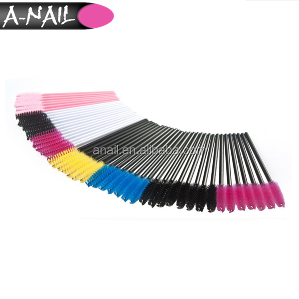 Free Sample 50 PCS Cosmetic Makeup Mascara Applicator Wand Brush 7 Colors One-Off Disposable Eyelash Extension Brush