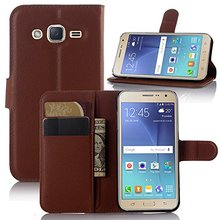 Top Sale Flip Pu Leather Wallet Pouch Case Cover with Stand / Card Slots For Samsung Galaxy J2