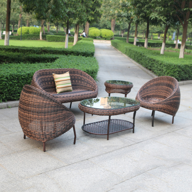 Garden Outdoor Furniture Round Wicker/Rattan Sofa Outdoor Set