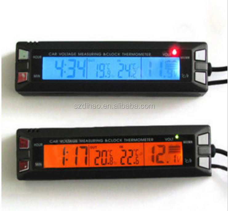 DIHAO In/Out Car Auto LCD Digital Clock Thermometer Temperature Voltage Meter Monitor