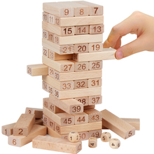 Baby Toys Family Game Wooden 54Pcs Blocks+4Pcs Dice Tumbling Stacking Tower Digital Building Blocks Popular Game Education Gift
