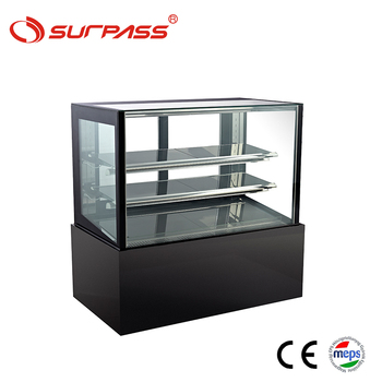 Flat glass showcase cake display refrigerator cooler counter fridge