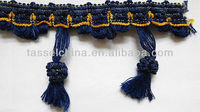 China Home Decor Blue Trim Fringe For Curtain; Cooton Tassel Fringe For Drapery Fabric