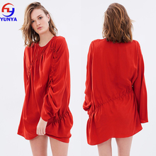 New styles fashion coral red long sleeve asymmetric hem mature ladies silk satin dress