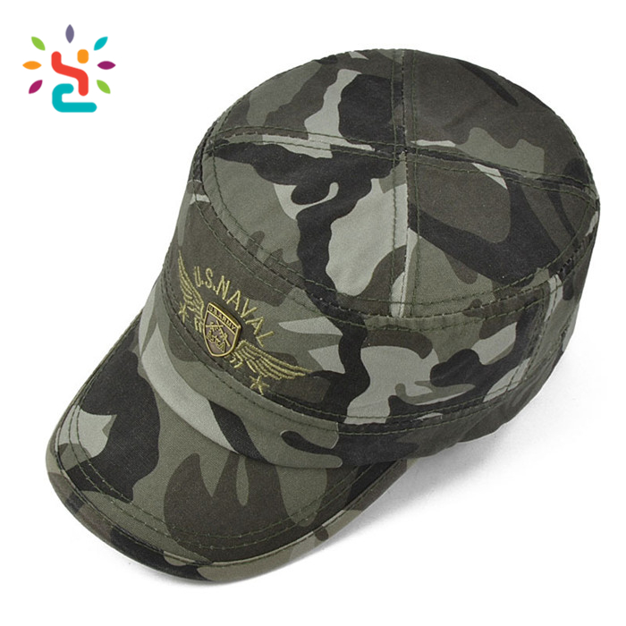 Custom camo unisex Flat top officer wholesale types of hats indian army cap green military hat military cap