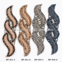 hot sell bead rhinestone patches for wedding sash applique (DF-011)