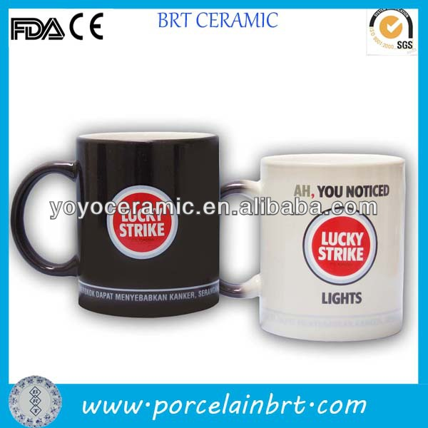 high quality customised porcelain sublimation color changing mug with nice design printed for promotions