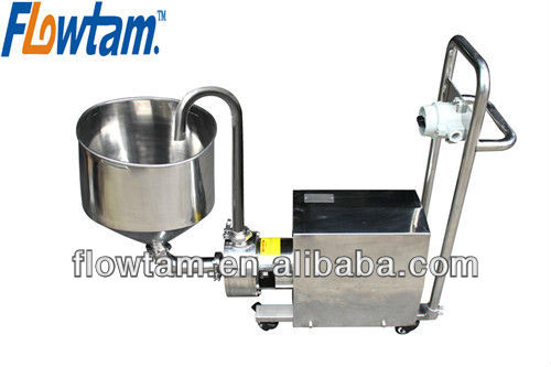 stainless steel powder liquid shear mixer with funnel