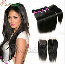 100% Human Hair Factory Price lace closure with bundles in hair extension