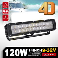 high power 4D Optic Lens led light bar 14inch 120w car led light bars for offroad 4WD 4x4 jeep