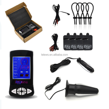 Hot Electrical stimulation sex products electric cock ring anal vagina plug bondage gear kits
