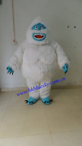 white long fur yeti mascot costume for Christmas party show