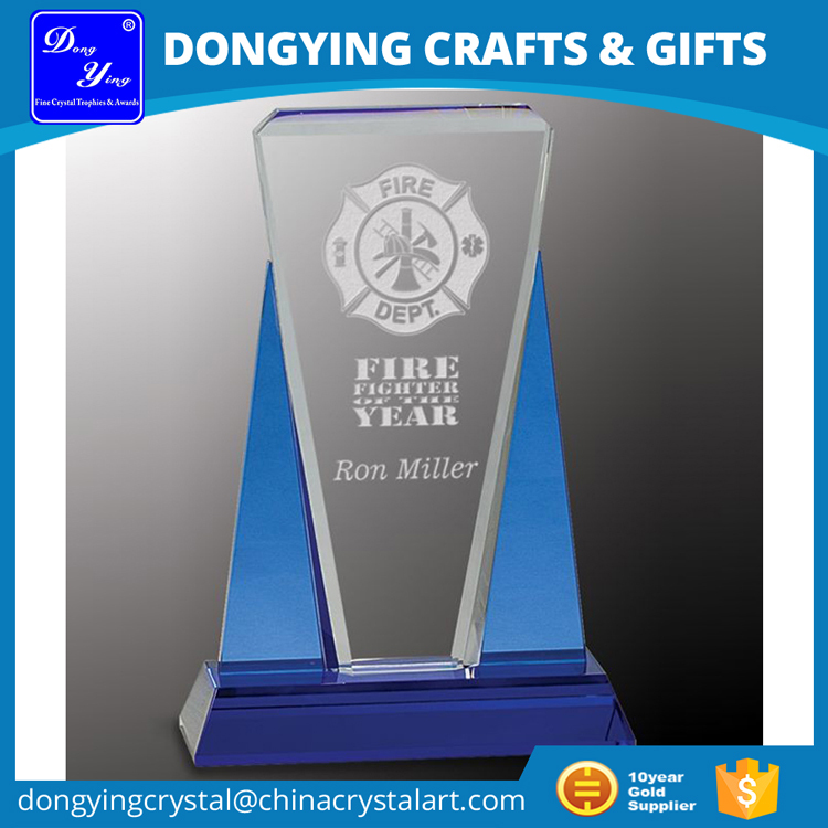 Blue Wedge Laser Engraving Blank Glass Award Factory Wholesale