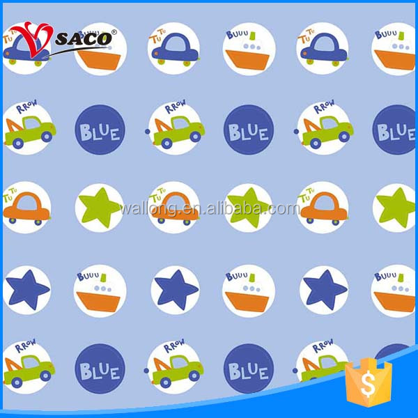 Little cars star blue design kids custom printed polyester double swag shower curtain