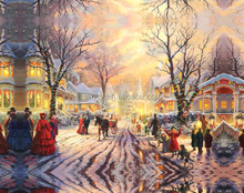 Famous christmas scenery oil painting on canvas