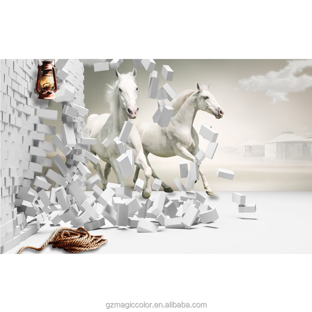 running white horse wallpaper 3d commercial vinyl wallpaper for restaurant decoration al murad wallpaper