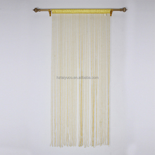 Wholesale fabric sheer rod yellow string curtain fashion