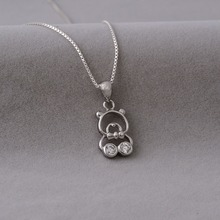Canada children jewelry teddy bear shaped with cz diamond 925 thai silver pendant