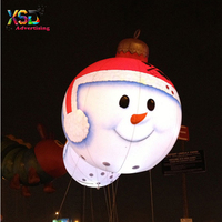 Beautiful giant inflatable snowman helium balloon with led