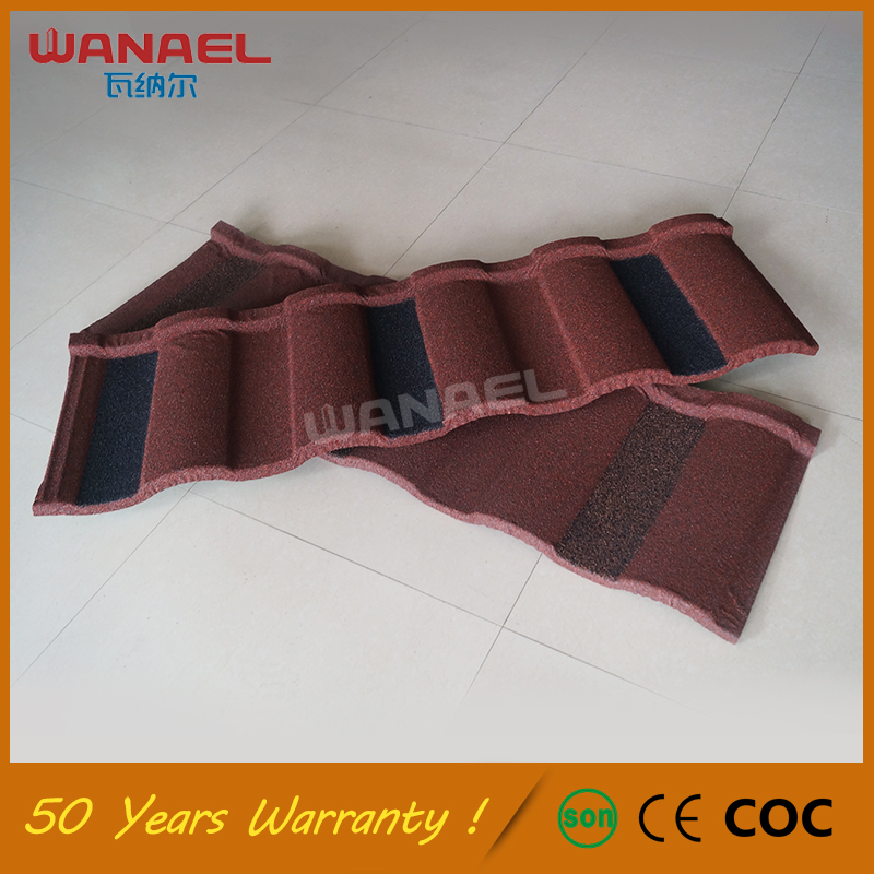 Double Roman Lightweight roofing material, colorful stone chips coated steel roofing tile