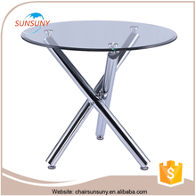 2016 best selling cheapest price glass top metal base dining table