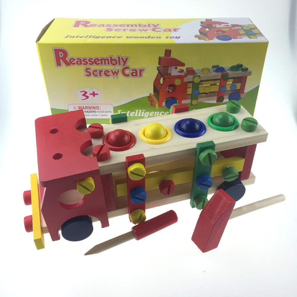 Wooden fun educational reassembly screw car toy for <strong>kids</strong>