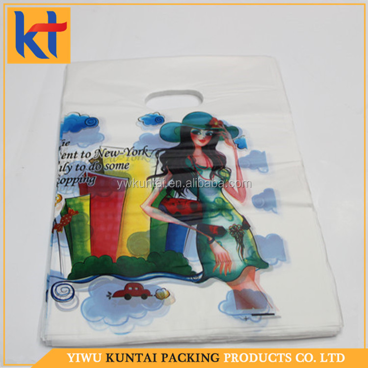 China market suppier best quality handle plastic shopping die cut cartoon pe bag.plastic gift bag
