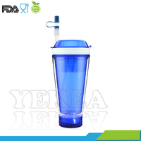 double wall plastic twinkle led light up Snack tumbler with straw