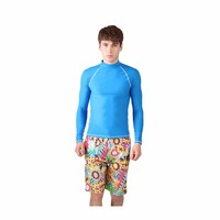 SBART 2015 Men's UPF 50+ Swimwear, Sportswear and Rash Guard in Blue Lycra Fabric for Swimming, Surfing, Diving and Waterpolo