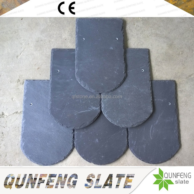 CE Passed Chinese Manufacturer Direct Sale Natural Black Stone Tile Round Slate Roofing