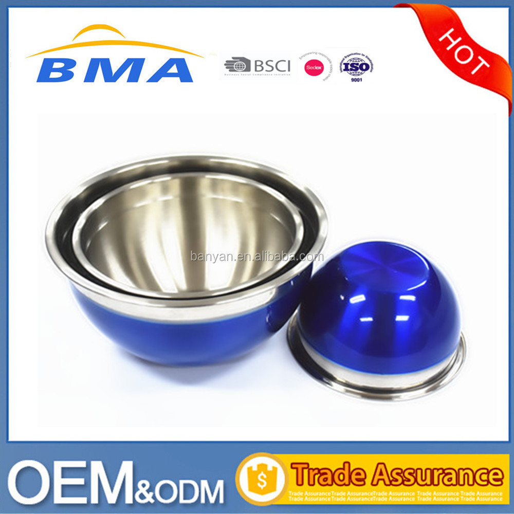 Blue Stainless Steel Mixing Salad Bowl Set 16,18,20,24cm