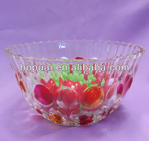 colored square Glass fruit platter