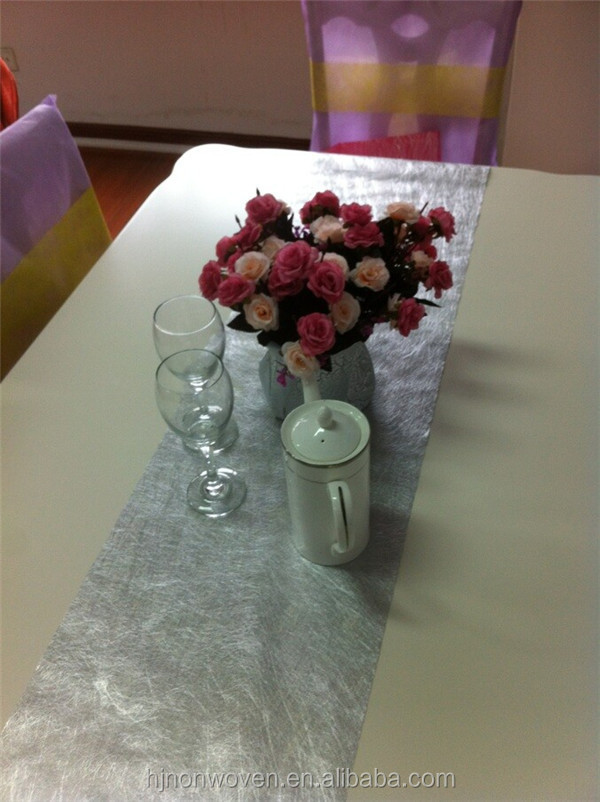 silver disposable table runner for wedding decoration